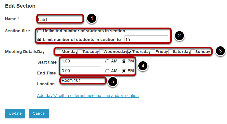 Edit the section information.