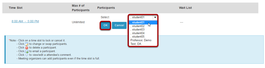 Select a user from the drop-down menu, then click OK.