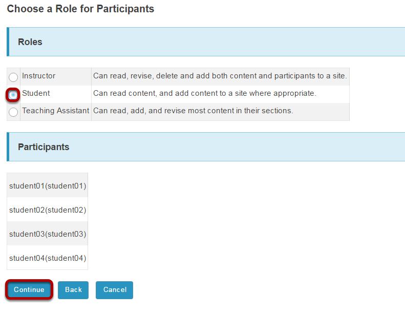 Choose participant role.
