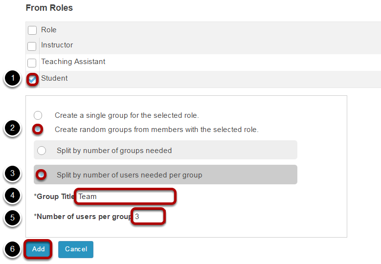 Create random groups by number of users per group.
