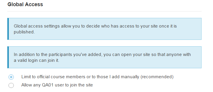 Select your Global Access setting.