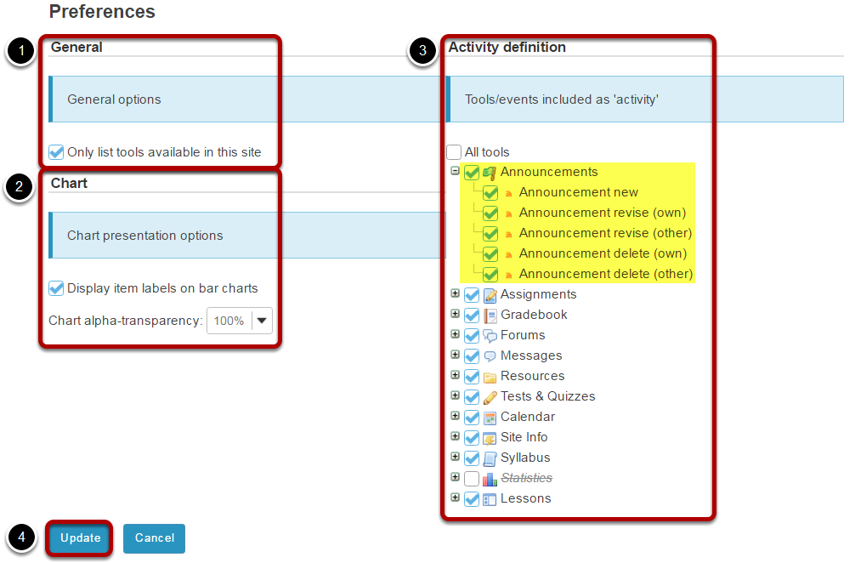 Set your site preferences for reports.