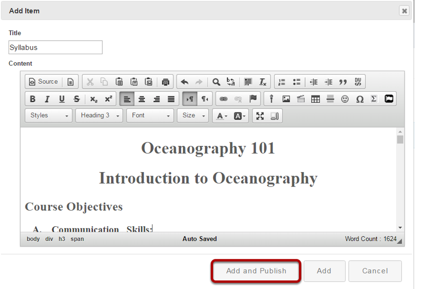 Make edits to the text in the Rich Text Editor.