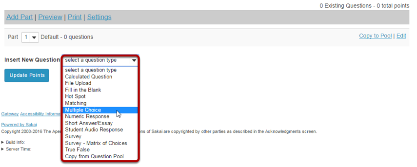 From the Insert New Question drop-down menu, select Multiple Choice.