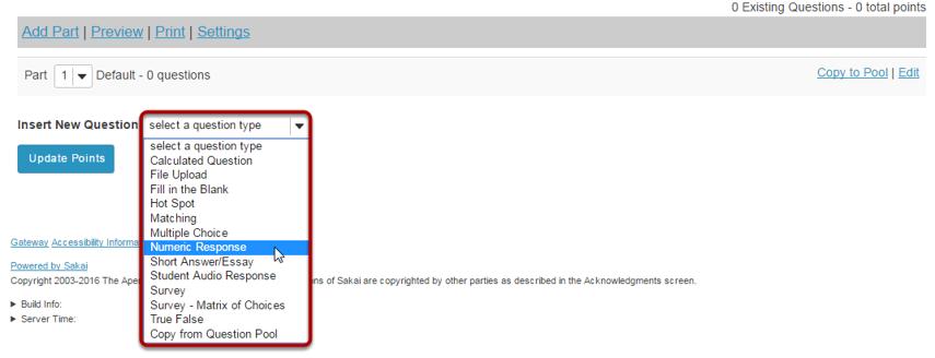 Select Numeric Response from drop-down menu.