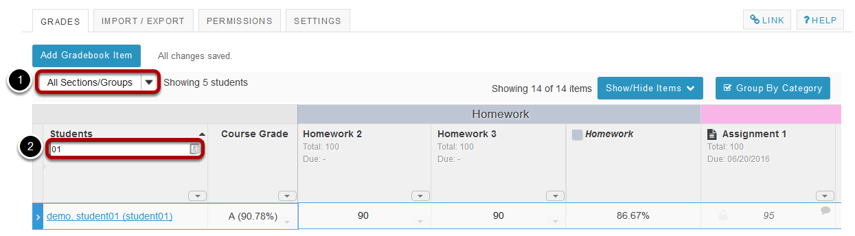 Search or filter your list of students. (Optional)