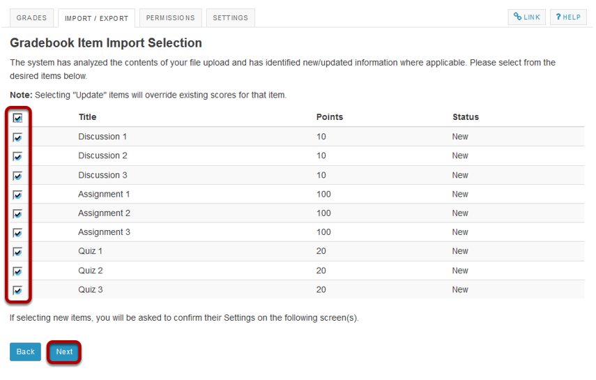 Select the items to be imported.