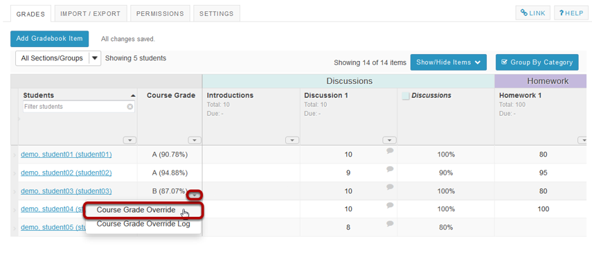 In the Course Grades column, select the down arrow within the cell for the student's grade and choose Course Grade Override.
