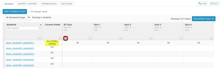 Example: EC item in gradebook with no categories.