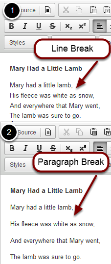 Images with examples of paragraph and line breaks.