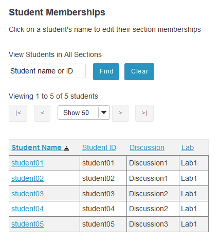 The list of students and their section membership will display.
