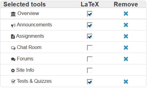 Check LaTex box next to tool names to enable.