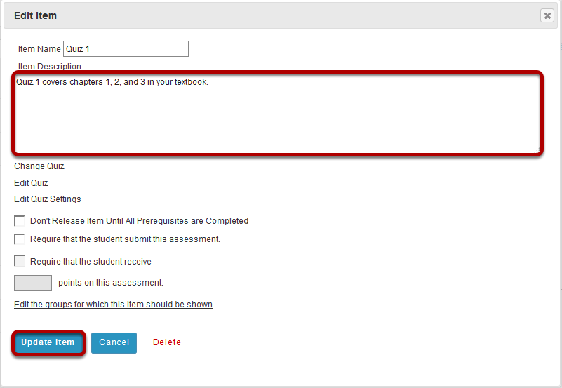 Add a description for the assessment, then click Update Item.