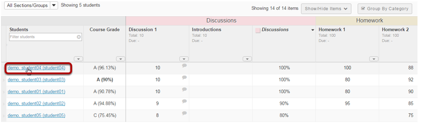 Viewing individual student grades.