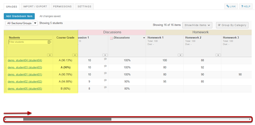 Notice the fixed student information and course grade columns.