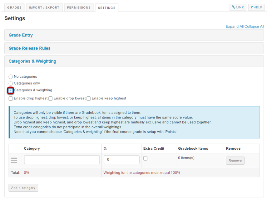 Select the Categories & weighting radio button.
