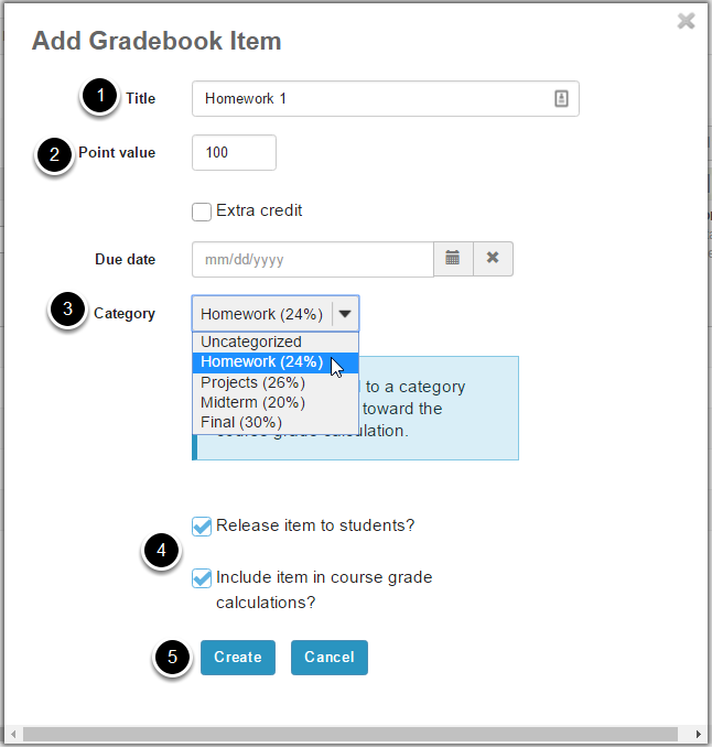 Click Add Gradebook Item to create items and associate them with the appropriate categories.