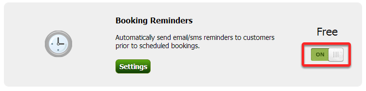 Turn the Booking Reminders on