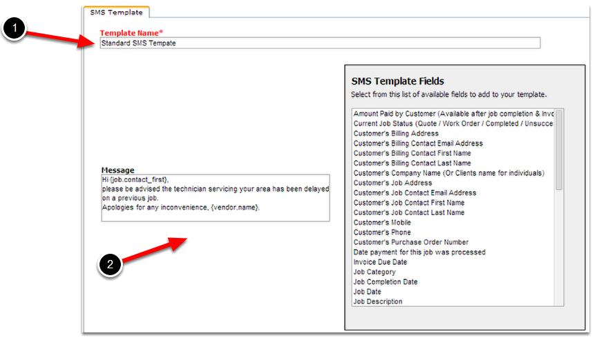 Create A New SMS Template