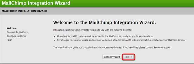 Welcome to MailChimp Integration Wizard, click Next