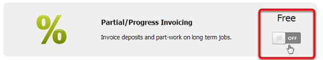 Tick the Partial/Progress Invoicing add-on to activate it
