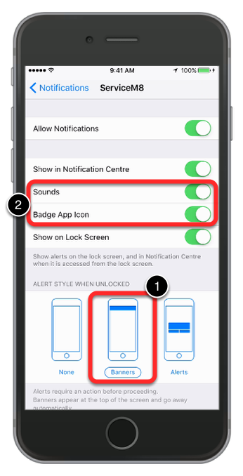 These Notifications settings will ensure fast syncing of jobs