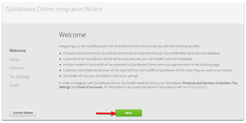 Welcome to QuickBooks Online Integration Wizard, click Next