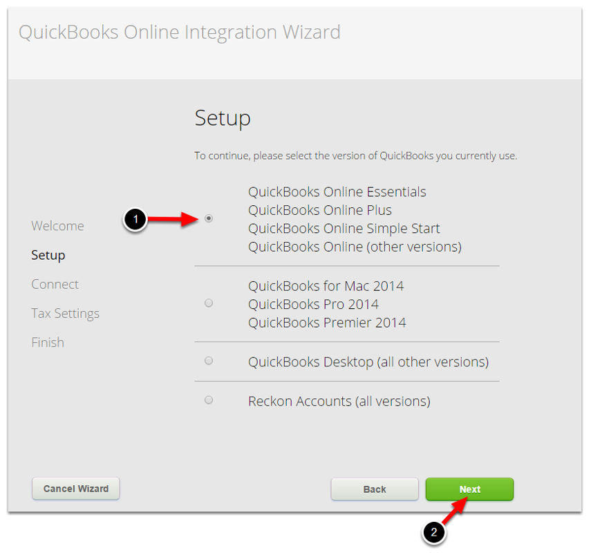 Select QuickBooks Online version, click Next