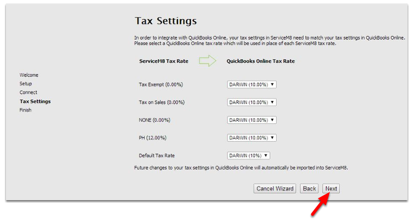 Setup your Tax Settings, click Next