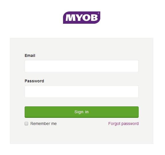 Login your MYOB's account and click Sign in