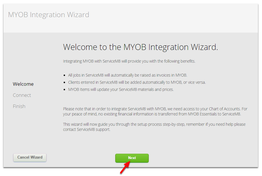Welcome to the MYOB Integration Wizard, click Next to proceed