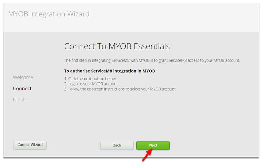 Click Next to connect to MYOB Essentials