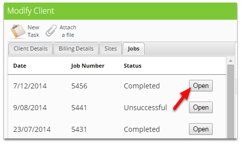 From the Modify Client window, click Open a job under the Jobs tab