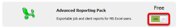 Click the switch button to activate Advanced Reporting Pack add-on