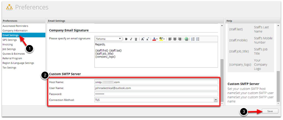 How to setup a Custom SMTP Server – ServiceM8 Help