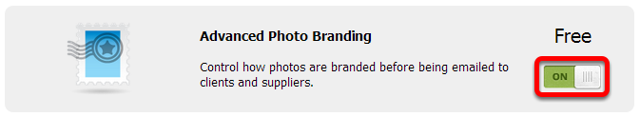 Click the switch button to activate the Advanced Photo Branding