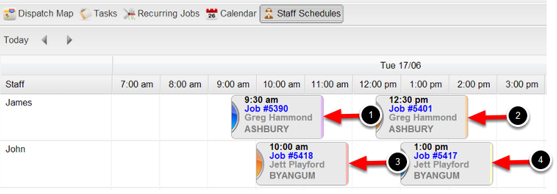 2. Categories can be shown as different colours on the staff and calendar schedule.