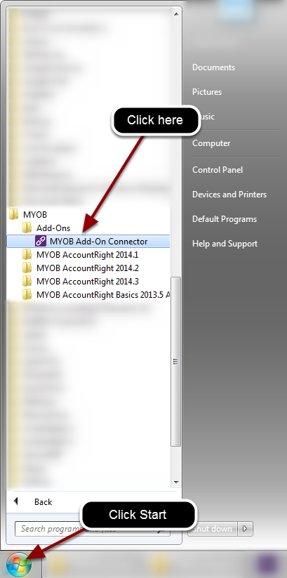 Locate the MYOB Add-on connector in the start menu.