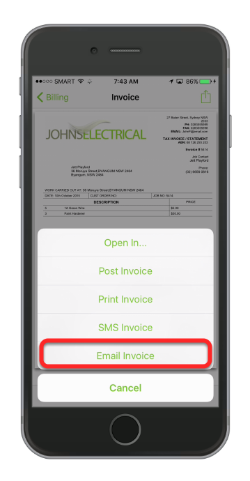 Tap Email Invoice
