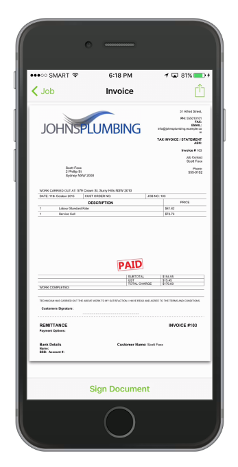 The invoice has been produced and ready to be sent via email, print, SMS or via Post.