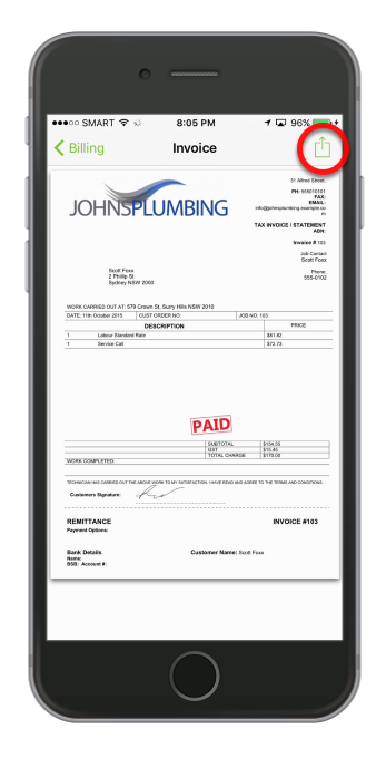 To issue an invoice, tap the icon on the upper-right corner of the screen