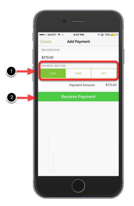 Select Payment Method and then hit Receive Payment.