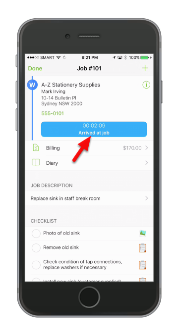 Once you've reached the site ServiceM8 will automatically detect that you have arrived on site.
