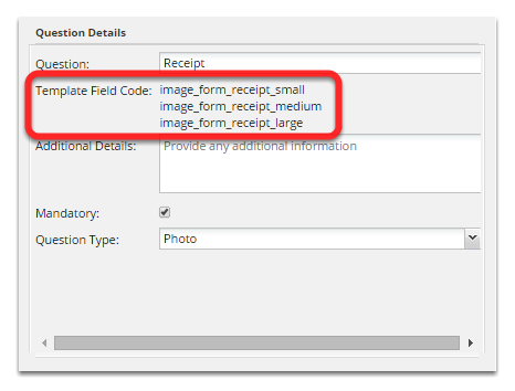 If you wish to link the form's photo into the document template simply use any of its field codes as shown below: