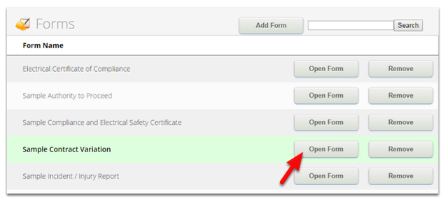 In the Forms page, select a form and click Open Form to modify it