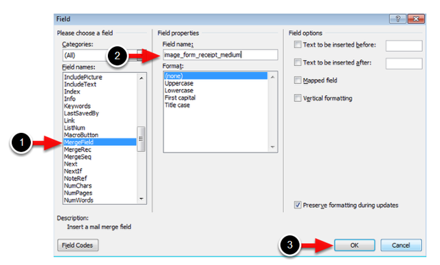 Go to Insert > Quick Parts > Field > MergeField and enter or copy and paste the form's field code from the form. Click Save.
