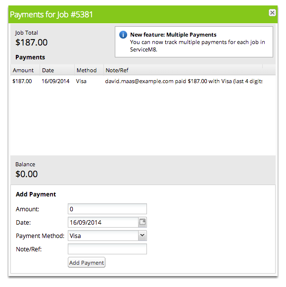 Payment details are recorded against the job in ServiceM8