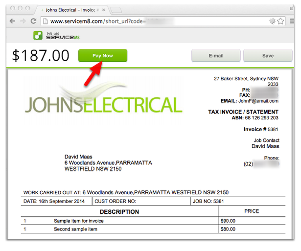 The customer can view the invoice using the auto-generated link