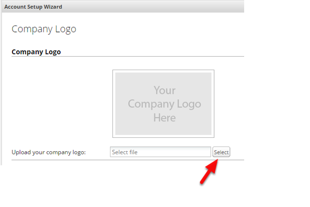 This step is where you upload your logo. Click Select to browse and upload your company logo.
