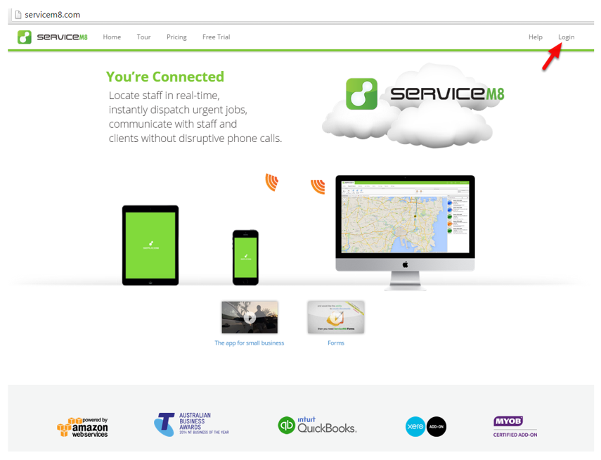 Go to ServiceM8.com on a PC or Mac, then click Login